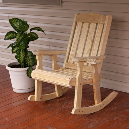 White Cedar Low Back Rocker (Amish Heavy Duty 600 Lb Mission Pressure Treated Rocking Chair With Cupholders)