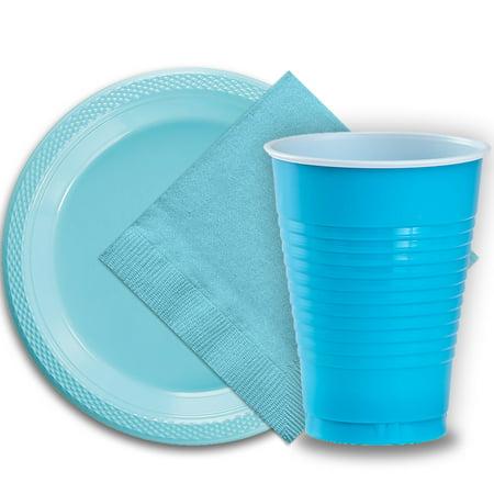 12 Oz Plastic Cups (50 Light Blue Plastic Plates (9