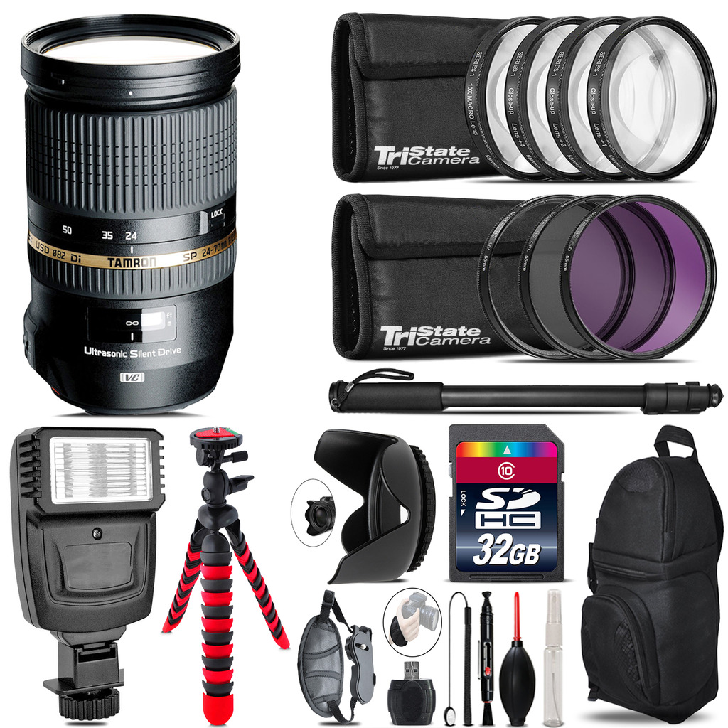 Tamron 24-70mm Lens for Canon + Flash + Tripod & More 32GB Accessory Kit by Tamron