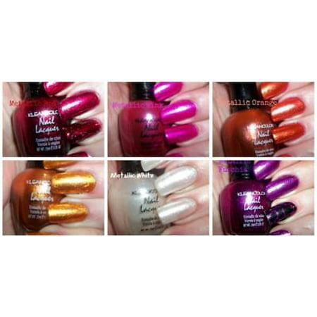 LWS LA Wholesale Store  6 PCS New Kleancolor FULL SIZE METALLIC LOT Nail Polish SET Black Purple RED - Black And Purple Halloween Nails