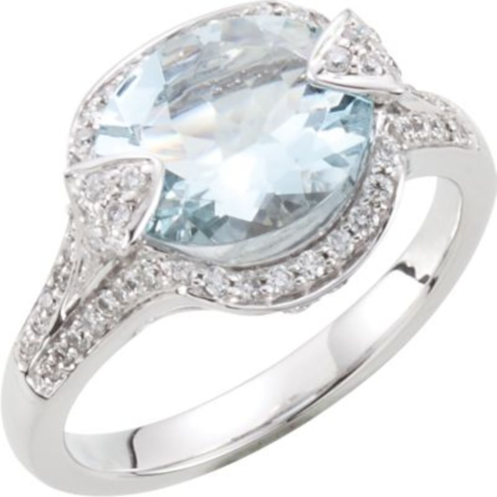 Genuine Aquamarine & Diamond Ring Size 8 by Bonyak Jewelry