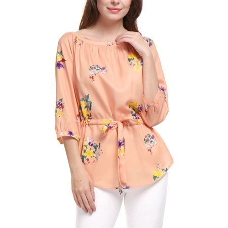 Women Floral 34 Sleeves Boat Neck Drawstring Waist Tunic Top