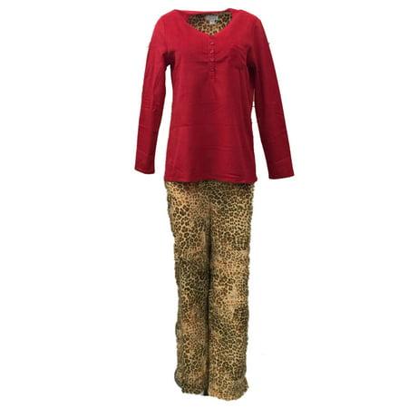 194441982953 Celestial Dreams - Celestial Dreams Womens Brown   Red Leopard Print Pajamas  Fleece Pajama Set - Walmart.com