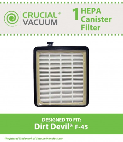 Dirt Devil F45 HEPA Filter 2KQ0107000 Canister Model Purpose for Pets SD40000