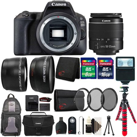 Canon EOS Rebel 200D / SL2 24.2MP Digital SLR Camera Black EF-S 18-55mm Lens All You Need Top Accessory Kit ()