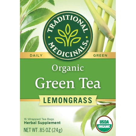 Traditional Medicinals, Organic Green Tea Lemongrass, Tea Bags, 16 Ct
