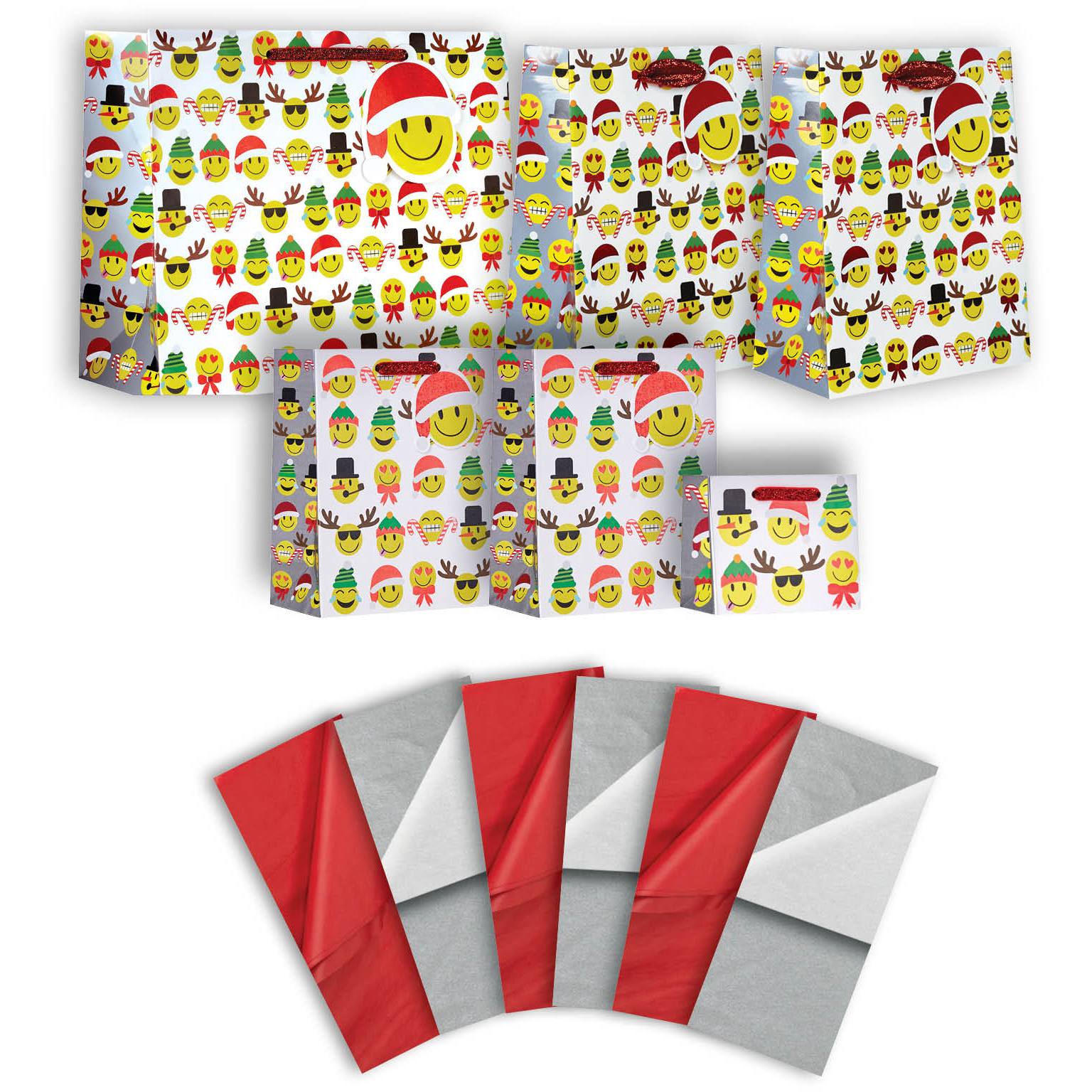 Jillson & Roberts Gift Bag & Tissue Assortment, Emoji Christmas (6 Bags)