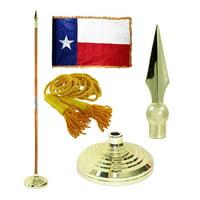 Indoor Texas State Flag Kit - 7ft Pole - Spear Metal