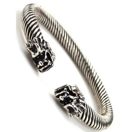Men Women Fashion Jewelry Silvertone Double Two Dragon Head Bangle Bracelet - BC009 Double Cable Bangle Bracelet