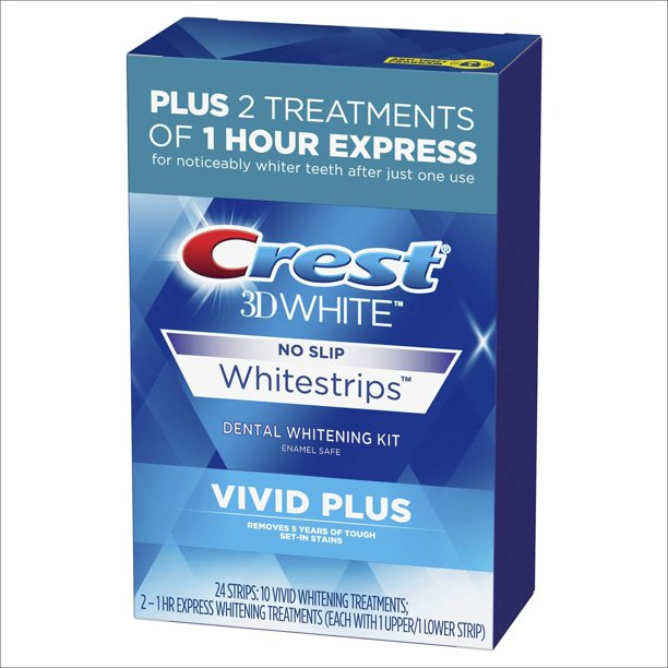 Crest 3d White Whitestrips Vivid Plus Teeth Whitening Kit 24 Individual Strips 10 Vivid Plus Treatments 2 1hr Express Treatments Vivid Plus Whitestrips Walmart Com Walmart Com