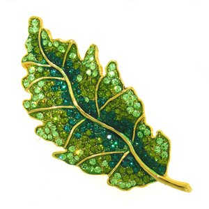 Platinum-Plated Swarovski Crystal Enamel Green Leaf Pin  Brooch (1 2 x 2 1 2) Gift Boxed by