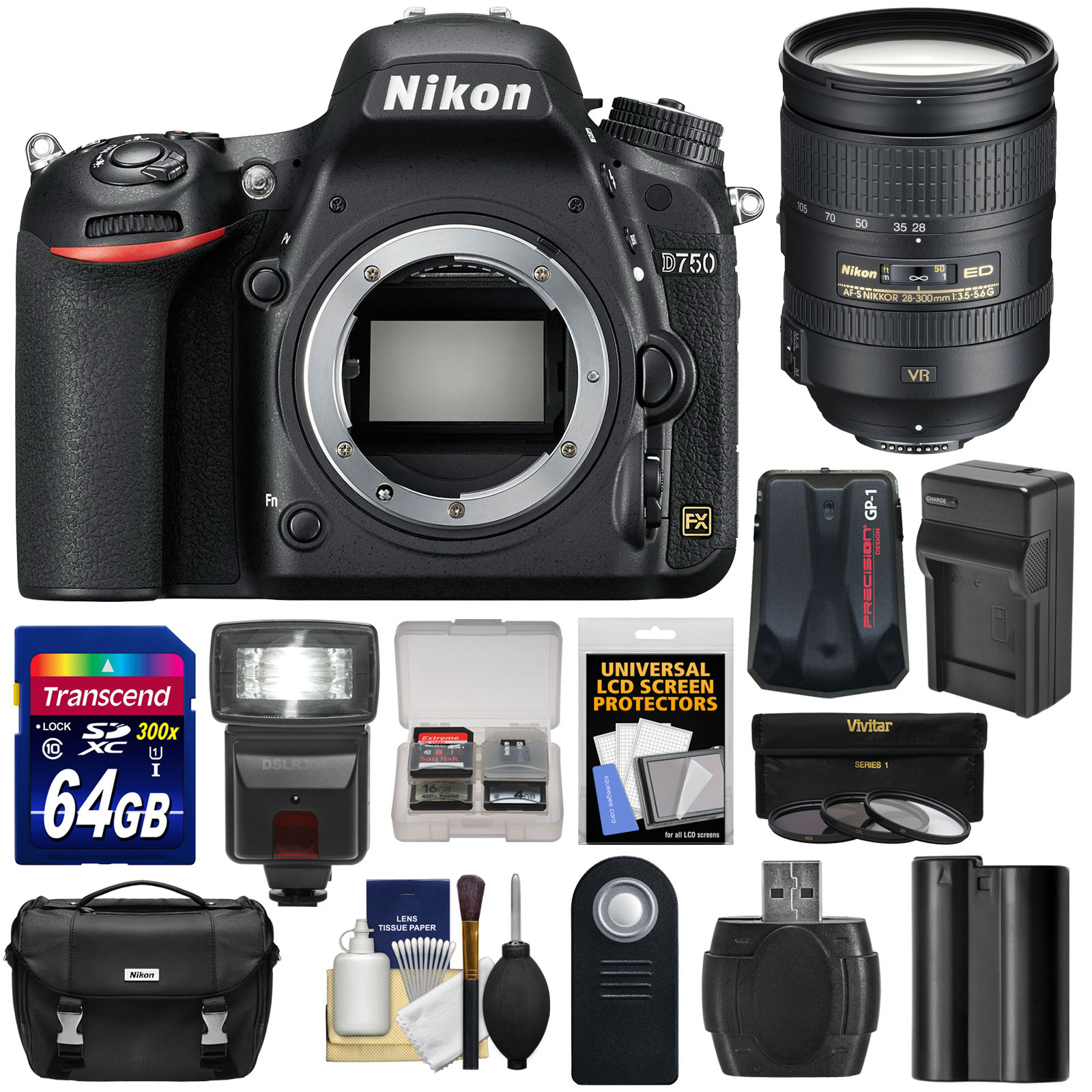 Nikon D750 Digital SLR Camera Body with 28-300mm VR Lens + 64GB Card + Battery + Charger + Case + Filters +... by Nikon