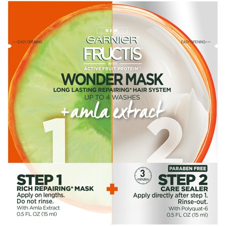 (2 Pack) Garnier Fructis with Active Fruit Protein Wonder Mask Long Lasting Repairing Hair System 2-0.5 fl. oz. Packets