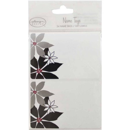 Jam Paper   4  X 3    Flowers Name Tag Gift Labels  24 Name Tags Per Package