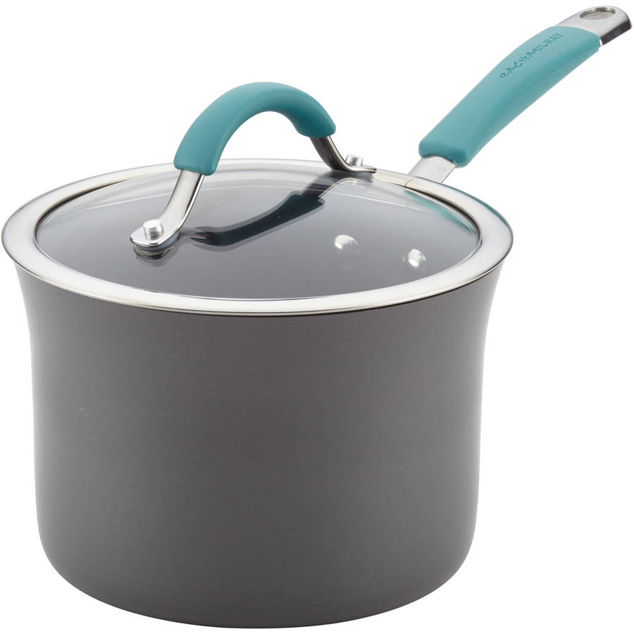Rachael Ray Cucina Hard Porcelain Enamel Nonstick Covered Saucepan, 3-Quart, Agave Blue