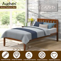 """Twin Bed, AUCHEN 12"""" Twin Bed Frame, Deluxe Wood Platform Bed, Bed Frame with Headboard / Wood Slat Support / Max Weight Capacity 275 LB / No Box Spring Needed - (Style 2 - Walnut)"""