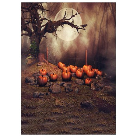 ABPHOTO Polyester Photography Background Photo Backdrops Magic Theme Horror night fog wasteland stone, pumpkin, tree, crow, moon for Halloween 7x5ft (Inside The Magic Halloween Horror Nights)
