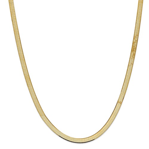 14k Yellow Gold 18in 5.5mm Silky Herringbone Necklace Chain by Jewelrypot