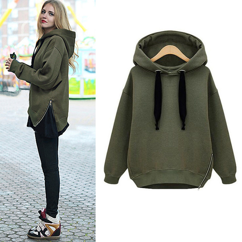 Fashion Women Autumn Winter Lady's Casual Long Sleeve Hoodies Sweatshirt Warm Outwear Coat  with Fleece Draw String S-M-L-XL-XXL