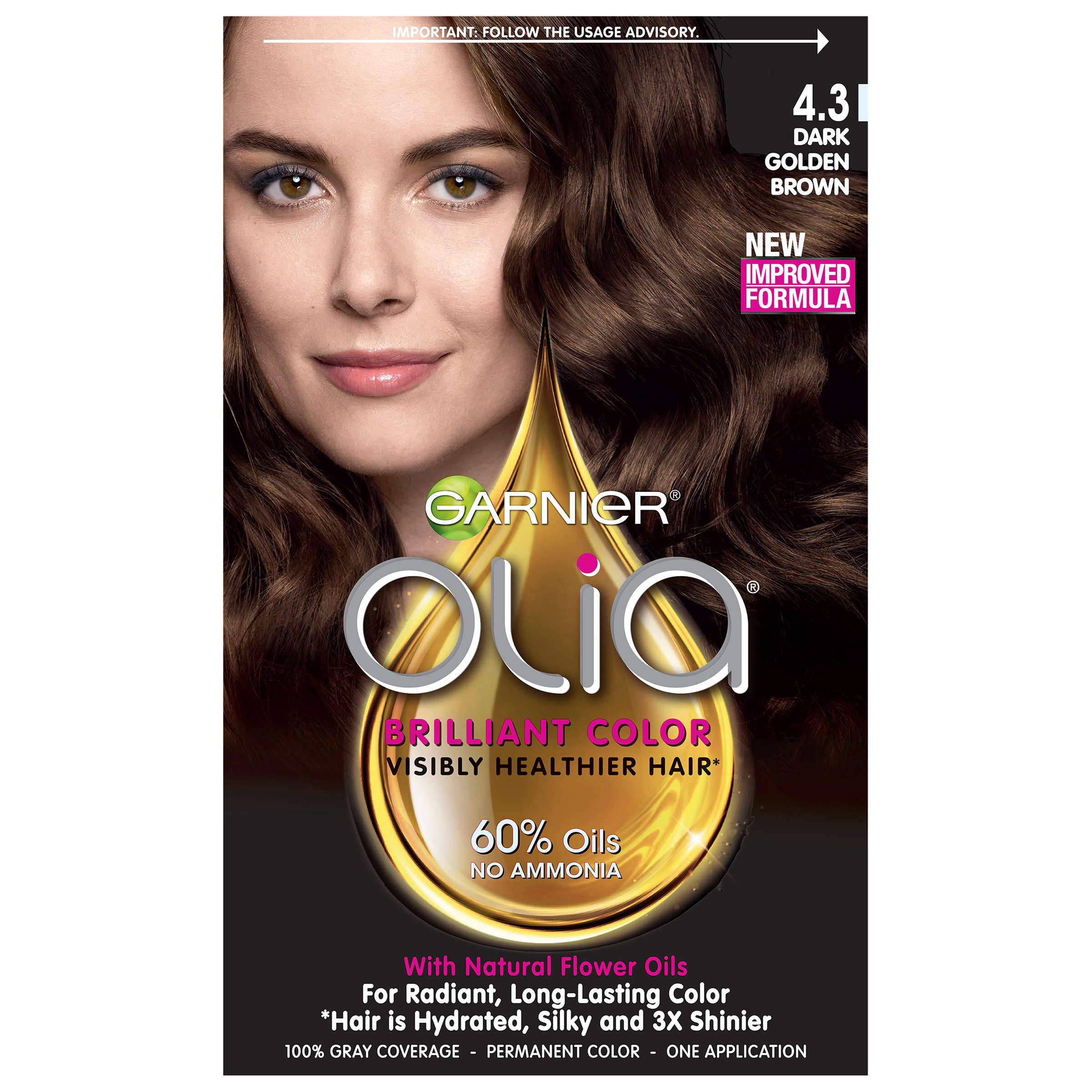 Garnier Olia Oil Powered Permanent Hair Color, 6.0 Light Brown