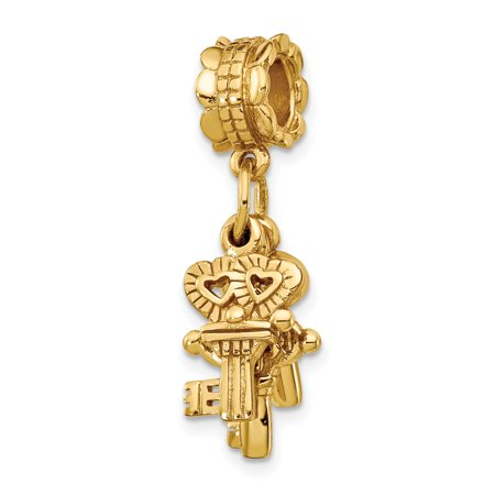925 Sterling Silver Gold Plated Charm For Bracelet Three Keys Dangle Bead