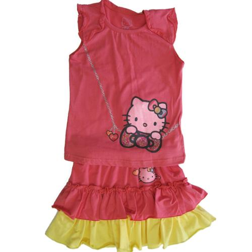 Hello Kitty Little Girls Coral Yellow Necklace Print Tiered 2 Pc Skirt Set 4-6X