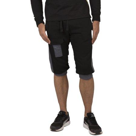 - Vibes Men's Fleece Cargo Jogger Capri 18