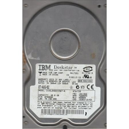 IC35L040AVVN07-0, PN 07N9682, MLC H69009, IBM 40GB IDE 3.5 Hard (Ibm Laptop Ide Hard Drives)