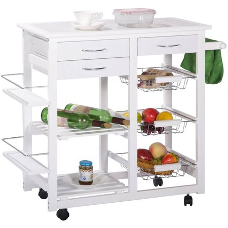 Merax Tile Top Mobile Kitchen Cart Kitchen Island With Drawers And Basket White