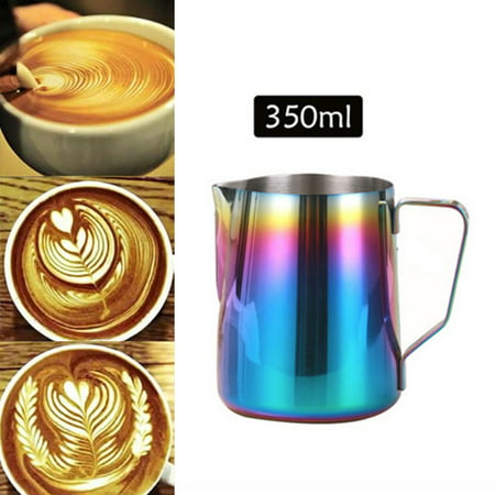- Milk Jug 350ml/12 fl.oz, 304 Stainless Steel Milk Pitcher, Milk Frothing Jug for Making Coffee Cappuccino