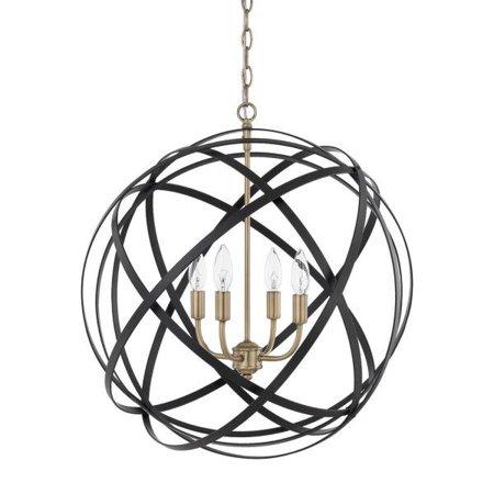 Capital Lighting Axis   Four Light Pendant  Aged Brass Black Finish