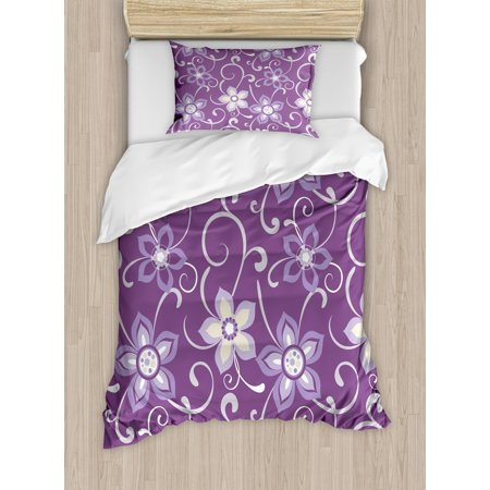 - Eggplant Twin Size Duvet Cover Set, Beautiful Lilacs with Leaves Sticking out of Them in Soothing Purple Background, Decorative 2 Piece Bedding Set with 1 Pillow Sham, Purple White, by Ambesonne