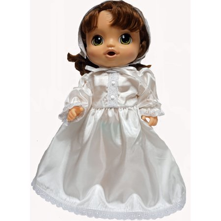 Lace Trim Christening Dress With Hat Fits Baby Alive And Little Baby Dolls
