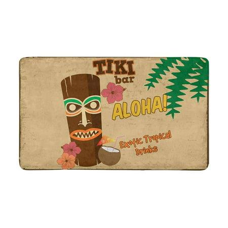 MKHERT Tiki Bar Rusty Sign Hawaiian Aloha Exotic Tropical Drinks Doormat Rug Home Decor Floor Mat Bath Mat 30x18 inch