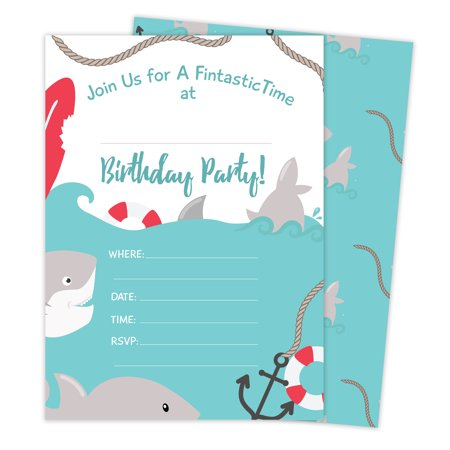 Shark Style 3 Happy Birthday Invitations Invite Cards (25 Count) With Envelopes & Seal Stickers Vinyl Boys Girls Kids Party