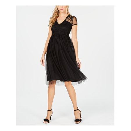 KENSIE Womens Black Mesh Short Sleeve V Neck Knee Length Fit + Flare Party Dress  Size: 6 Custom Fit Mesh Shorts