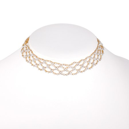 TAZZA WOMEN'S GOLD-TONE CRYSTAL CHOKER NECKLACE #SQ192-90359G