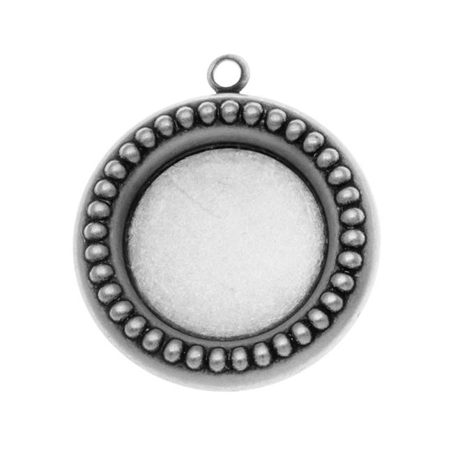 Antiqued Silver Plated Round Checker Piece Bezel Pendant Stamping 18mm /4