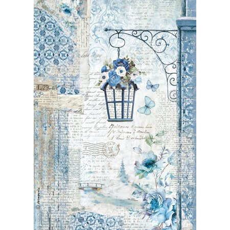 Stamperia Rice Paper Sheet A4-Blue Land Lamp