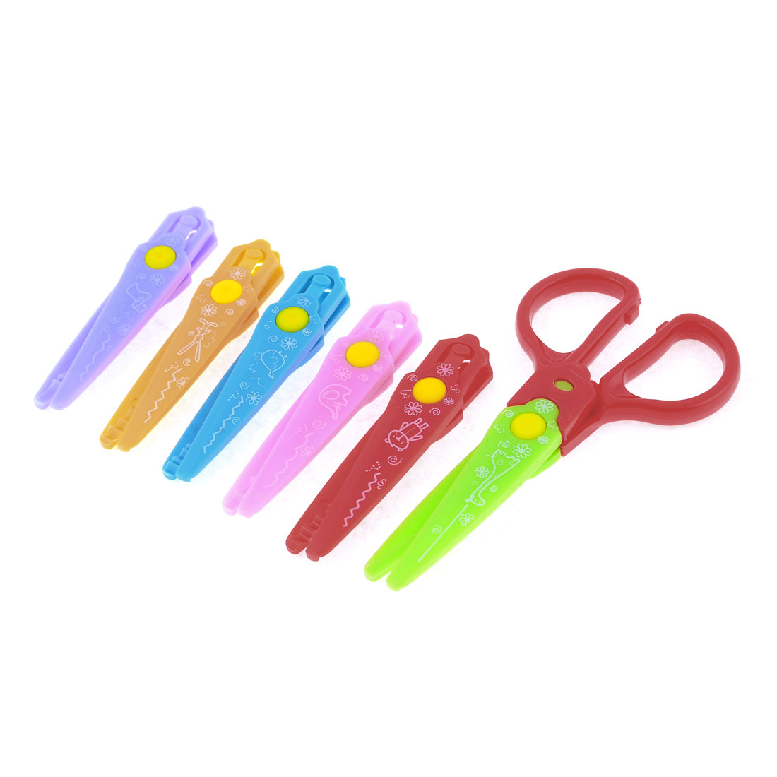 Color Zigzag Paper Ornament Decorative Scissors Red Handle 6 in 1