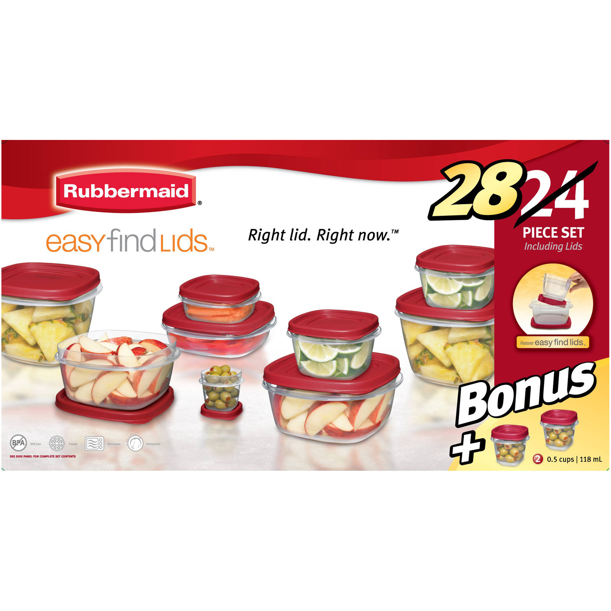 Charmant Rubbermaid Food Storage Containers With Easy Find Lids, 24 Piece Bonus Set    Walmart.com