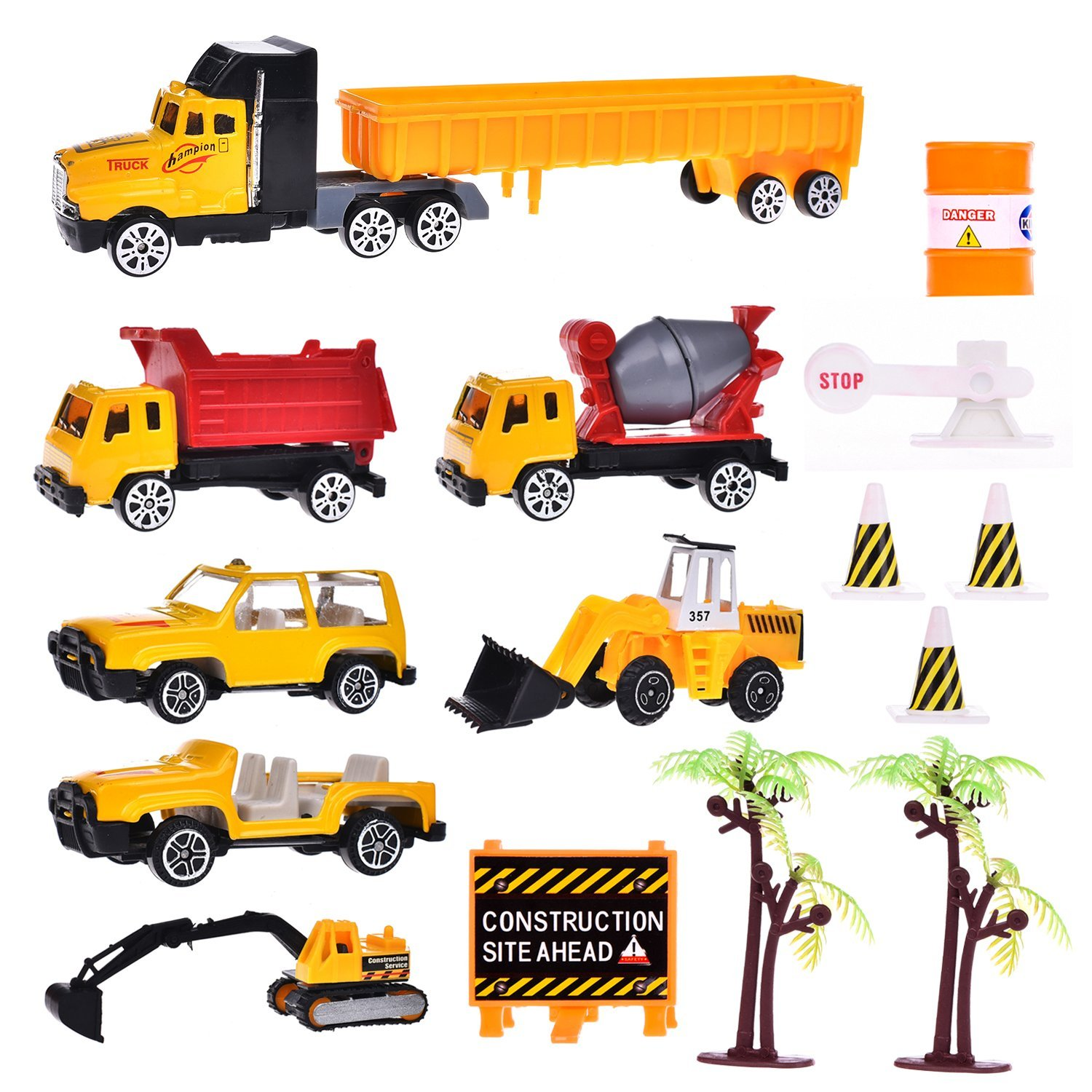 Construction Cars Play Set Vehicles Trucks Playsets for Boys Tough Construction Toy Set for Kids with Diggers, Mixing Truck, Construction Truck, Helicopter, Tow Truck, Semi Truck and Accessories 16pcs