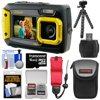 Coleman Duo 2V9WP Dual Screen Shock & Waterproof Digital Camera (Yellow) with 16GB Card + Case + Float Strap + Flex Tripod + Kit