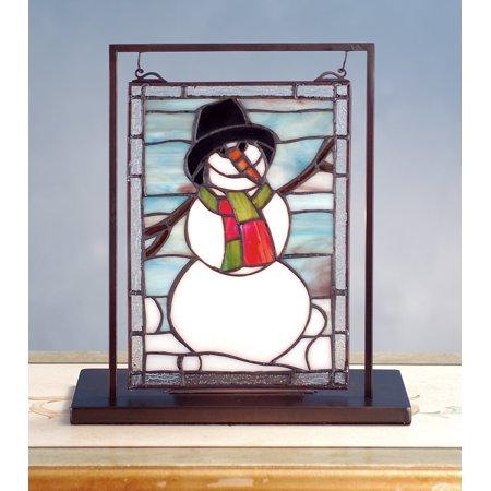 Tiffany Blue Mini (Meyda Tiffany 68340 Snowman Lighted Decorative Mini Tabletop Window, 9.5