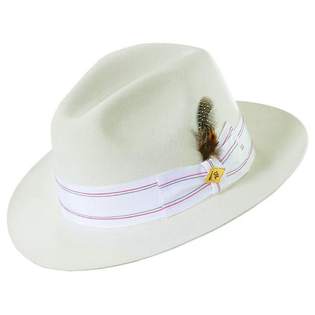 Stacy Adams Men's Diamond With Faux Gator Hat WHITE M