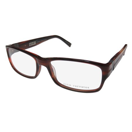 New John Varvatos V339 Mens Designer Full-Rim Reddish Brown Fashionable Made In Japan Frame Demo Lenses 55-16-140 Spring Hinges (Eyeglasses Made In Japan)