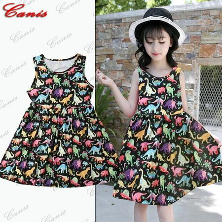 Kids Toddler Baby Girl Sleeveless Dinosaurs Tutu Princess Party Dress Clothes](Dinosaur Fancy Dress Ideas)
