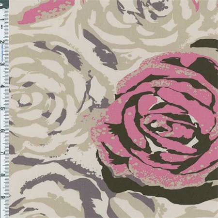 - Beige/Pink Floral Decor Cotton Twill, Fabric By the Yard