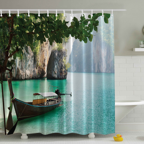 Ambesonne Wood Sandal Print Shower Curtain