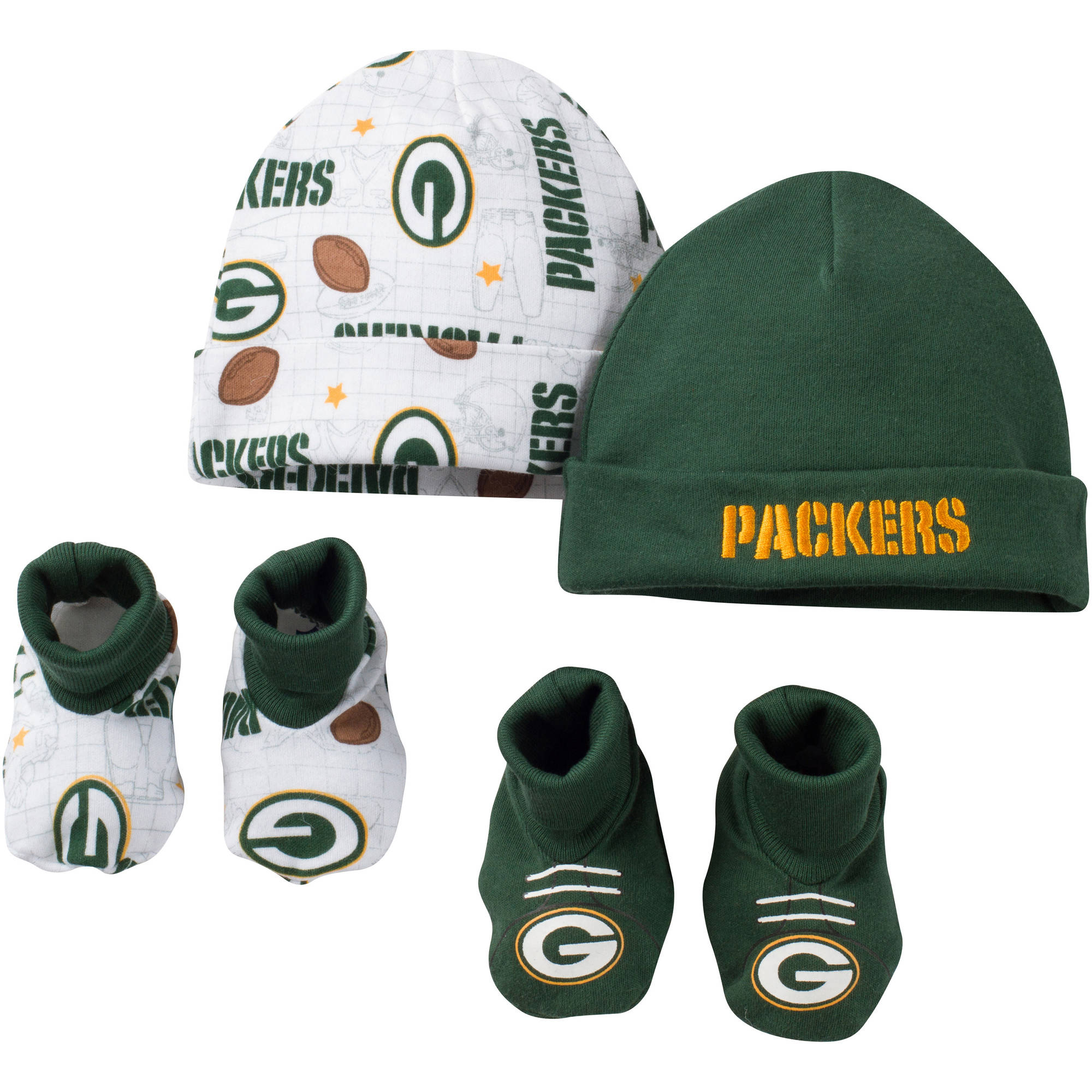 Gerber Childrenswear NFL Green Bay Packers Baby Boys Accessory Set, 2 Caps and 2 Booties, 4 - Piece